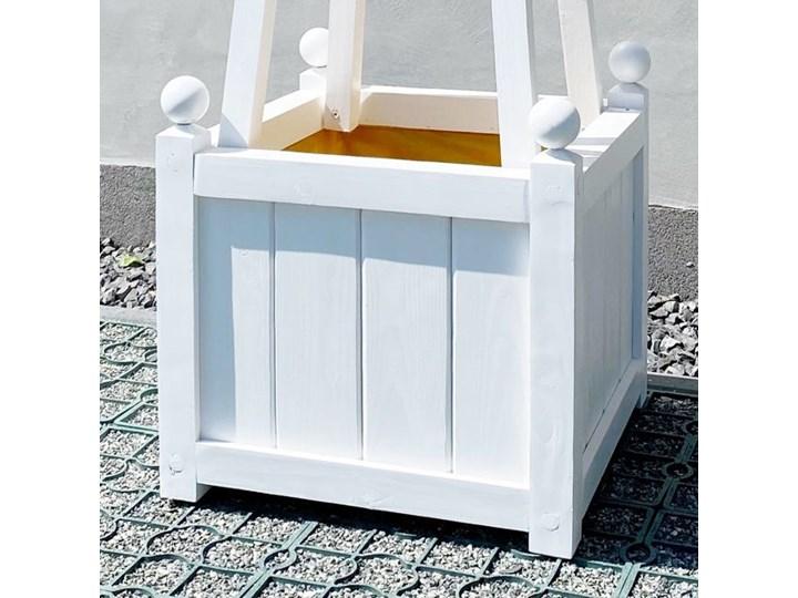 DREWNIANA BIAŁA DONICA OGRODOWA WYBIERZ ROZMIAR WINDSOR  50x50x40cm BEZ DODATKÓW Kolor Biały Drewno Kategoria Donice ogrodowe