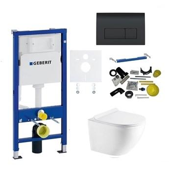 Zestaw stelaż podtynkowy do WC GEBERIT z przyciskiem Delta51 (czarny) + miska WC z deską
