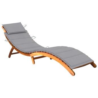 vidaXL Ogrodowy leżak z poduszką, lite drewno akacjowe
