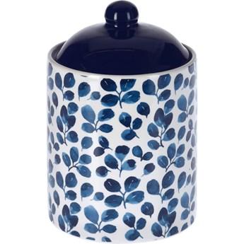 Pojemnik z pokrywką, ceramiczny, niebieski, 500 ml, wzór roślinny