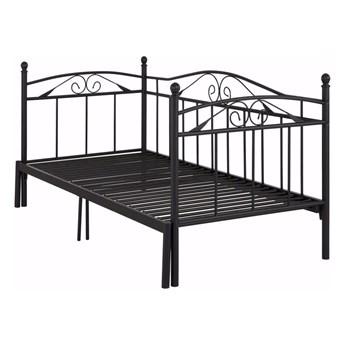 Czarne łóżko rozkładane Støraa Bibi, 90x200 cm