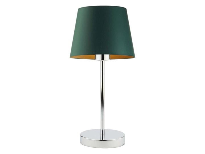 LAMPA BIURKOWA NOCNA PREXA STOŻEK WELUR GOLDEN Styl Nowoczesny Lampa nocna Lampa z abażurem Wysokość 47 cm Kolor Złoty