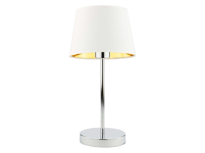LAMPA BIURKOWA NOCNA PREXA STOŻEK WELUR GOLDEN Wysokość 47 cm Lampa z abażurem Lampa nocna Styl Nowoczesny