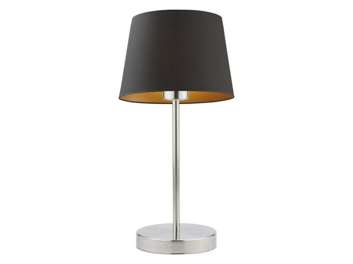LAMPA BIURKOWA NOCNA PREXA STOŻEK WELUR GOLDEN Wysokość 47 cm Lampa nocna Lampa z abażurem Kolor Złoty Styl Nowoczesny
