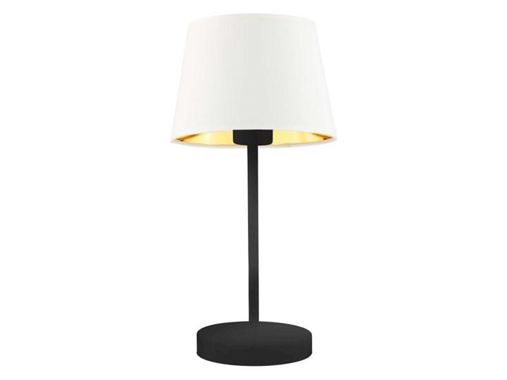 LAMPA BIURKOWA NOCNA PREXA STOŻEK WELUR GOLDEN Lampa z abażurem Wysokość 47 cm Lampa nocna Styl Nowoczesny