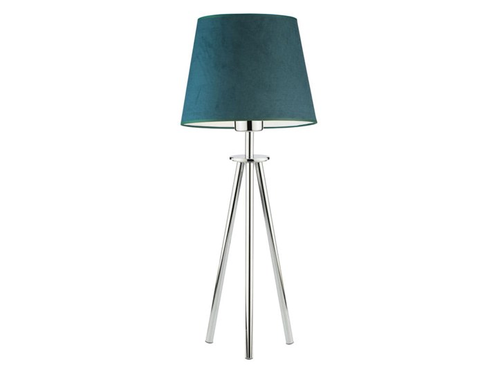 LAMPA NA STOLIK KANIS STOŻEK WELUR GOLDEN Tkanina Stal Kategoria Lampy stołowe Lampa z abażurem Chrom Wysokość 50 cm Styl Nowoczesny
