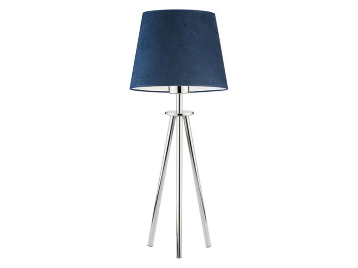 LAMPA NA STOLIK KANIS STOŻEK WELUR GOLDEN Wysokość 50 cm Tkanina Stal Chrom Lampa z abażurem Kategoria Lampy stołowe