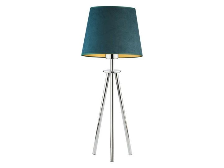 LAMPA NA STOLIK KANIS STOŻEK WELUR GOLDEN Wysokość 50 cm Stal Lampa z abażurem Styl Nowoczesny Chrom Tkanina Kategoria Lampy stołowe