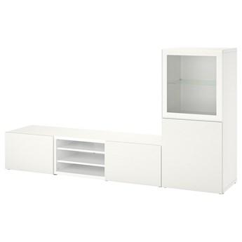 IKEA BESTÅ Kombinacja na TV/szklane drzwi, Biały Glassvik/Laxviken biały, 240x42x129 cm