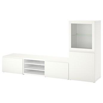 IKEA BESTÅ Kombinacja na TV/szklane drzwi, Biały/Västerviken białe szkło przezroczyste, 240x42x129 cm