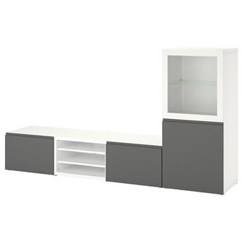 IKEA BESTÅ Kombinacja na TV/szklane drzwi, Biały/Västerviken szary, 240x42x129 cm