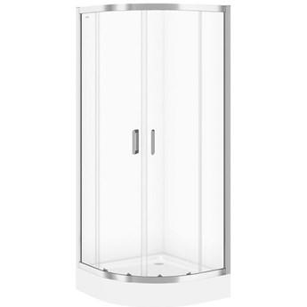 Kabina prysznicowa półokrągła BASIC 90x185 szkło transparentne z brod