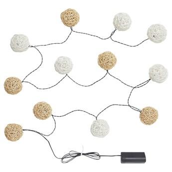 IKEA SOLVINDEN Łańcuch świetlny LED z 12 żarówkami, na baterie/biały beżowy, Długość do 1. lampy: 1.5 m