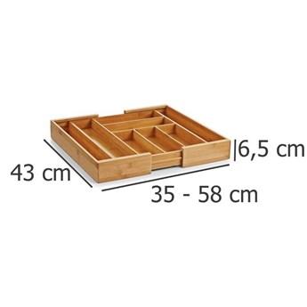Rozsuwany pojemnik na sztućce, wkład do szuflady, 35 - 58 x 43 x 6,5 cm, ZELLER