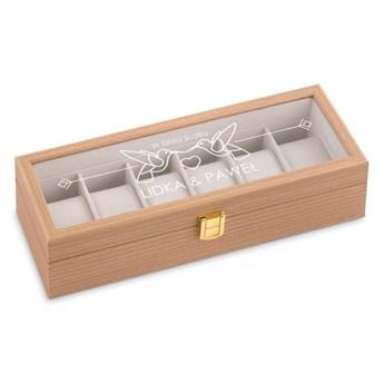 Szkatułka drewniana prostokątna na 6 zegarków z grawerem z grawerem d