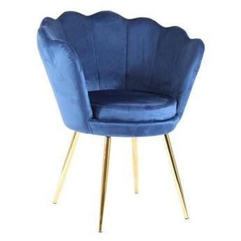 Welurowy fotel muszelka SHELL granatowy na złotych nogach