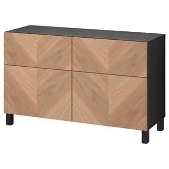 IKEA BESTÅ Kombinacja regałowa z drzw/szuf, Czarnybrąz/Hedeviken/Stubbarp okl dęb, 120x42x74 cm