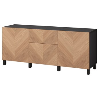 IKEA BESTÅ Kombinacja z szufladami, Czarnybrąz/Hedeviken/Stubbarp okl dęb, 180x42x74 cm