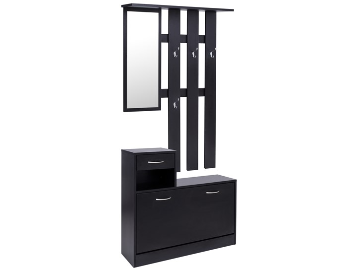 Zestaw do przedpokoju Eliza - szafka na buty + wieszak z lustrem - czarna Kolor Czarny Kategoria Zestawy mebli do sypialni