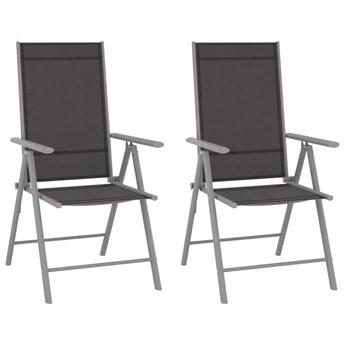 VidaXL Składane krzesła ogrodowe, 2 szt., tkanina textilene, czarne