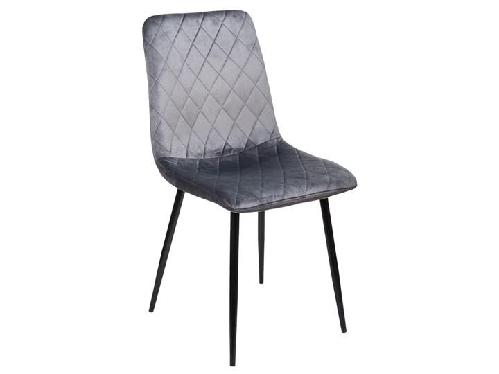 KRZESŁO welurowe RONNIE Grafitowe Wysokość 89 cm Tkanina Tworzywo sztuczne Krzesło inspirowane Metal Pomieszczenie Salon