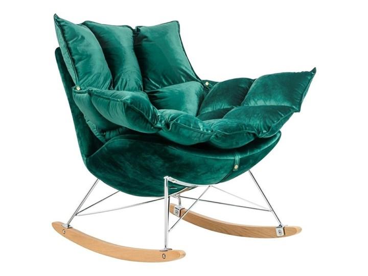 Fotel Bujany Swing Velvet Zielony Plusz Tkanina Drewno Pomieszczenie Salon