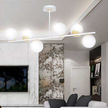FLOKI 6 WHITE-GOLD 1023/6 lampa sufitowa plafon biała złota DESIGN