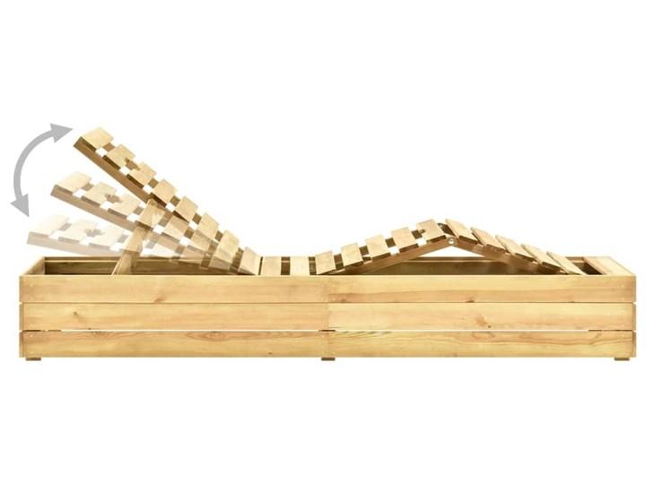vidaXL Leżak, impregnowane na zielono drewno sosnowe Z regulowanym oparciem Styl Rustykalny