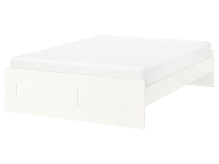 IKEA BRIMNES Rama łóżka, biały/Leirsund, 160x200 cm Tkanina Łóżko drewniane Kategoria Łóżka do sypialni Pojemnik na pościel Bez pojemnika
