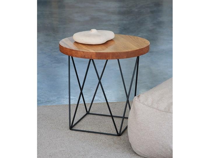 Stolik kawowy dębowy STOCKHOLM ROUND D=50cm h=48cm Styl Industrialny Stal Drewno Wysokość 37 cm Wysokość 48 cm Kolor Beżowy