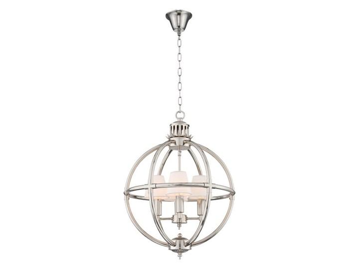 Srebrna lampa wisząca do salonu NEW YORK Chrom Metal Lampa z abażurem Tkanina Kolor Srebrny