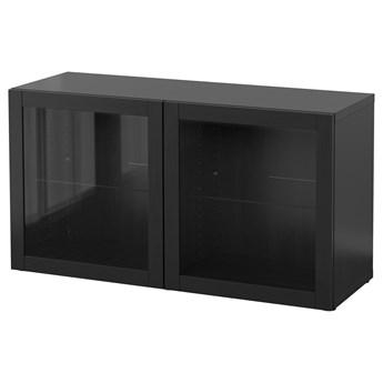 IKEA BESTÅ Witryna, Czarnybrąz/Sindvik czarnobrązowe szkło przezroczyste, 120x40x64 cm