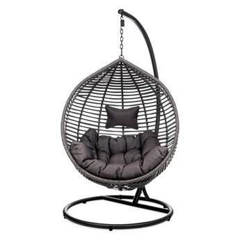 Ogrodowy fotel wiszący z brązowo szarymi poduszkami