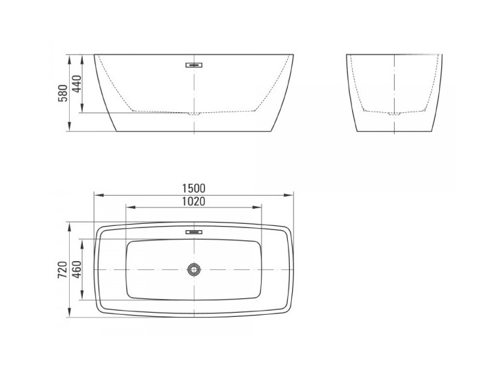 Deante Anemon wanna wolnostojąca prostokątna 150x72 cm KDM 015W Symetryczne Akryl Wolnostojące Kategoria Wanny