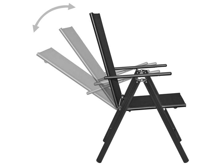 vidaXL 7-częściowy zestaw mebli ogrodowych, aluminium, czarny Zawartość zestawu Fotele Stoły z krzesłami Zawartość zestawu Krzesła