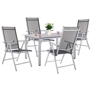 Meble ogrodowe zestaw 4 krzesła i stół aluminium szkło