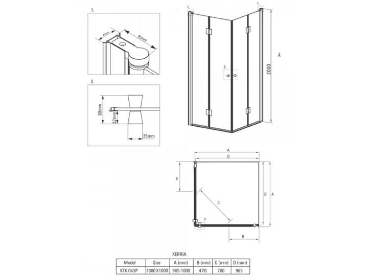 Deante Kerria kabina prysznicowa kwadratowa 100 cm KTK 043P Wysokość 200 cm Brodzik Bez brodzika
