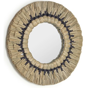 Lustro Akila okragle zielone wlókna naturalne i czarny bawelniany sznur Ø 40 cm