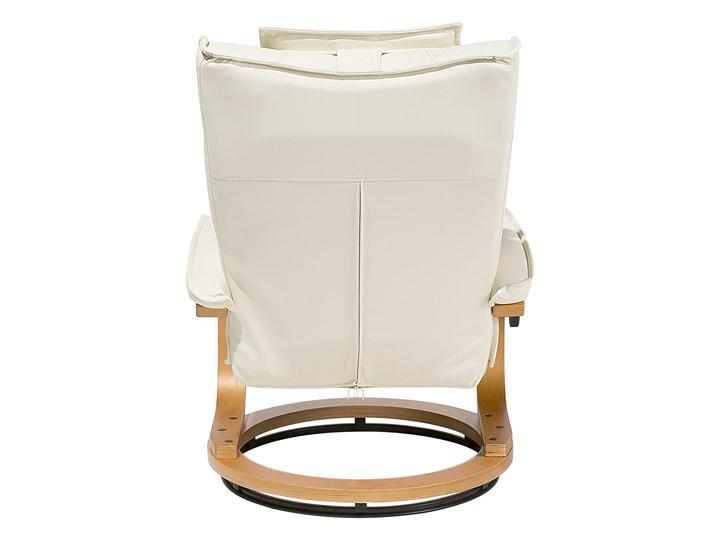 Fotel wypoczynkowy podgrzewany z masażem i podnóżkiem beżowy ekoskóra drewniana rama odchylane oparcie Skóra ekologiczna Drewno Styl Nowoczesny Fotel masujący Styl Vintage