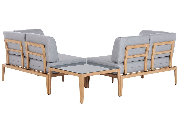Ogrodowy zestaw wypoczynkowy szary aluminiowa rama poliesterowe poduszki 2 stoliki zestaw na taras Zestawy wypoczynkowe Aluminium Zestawy modułowe Tworzywo sztuczne Zawartość zestawu Sofa