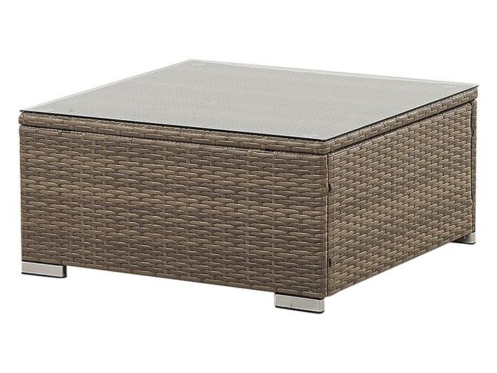 Zestaw mebli ogrodowych brązowy technorattan białe poduszki 6-osobowa sofa narożna stolik kawowy ze szklanym blatem Zestawy wypoczynkowe Zestawy modułowe Zawartość zestawu Narożnik Zestawy kawowe Aluminium Kolor Biały