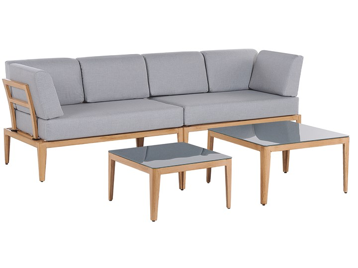 Ogrodowy zestaw wypoczynkowy szary aluminiowa rama poliesterowe poduszki 2 stoliki zestaw na taras Zestawy modułowe Aluminium Tworzywo sztuczne Zestawy wypoczynkowe Styl Nowoczesny Zawartość zestawu Sofa