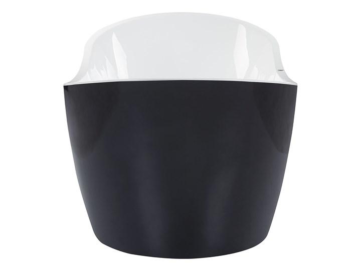 Wanna wolnostojąca czarna akrylowa 181 x 86 cm LED hydromasaż system przelewowy owalna retro Wolnostojące Kolor Czarny