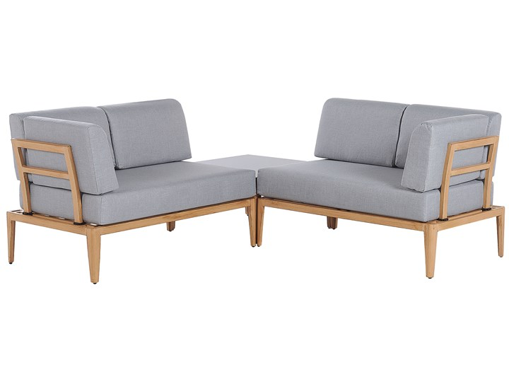 Ogrodowy zestaw wypoczynkowy szary aluminiowa rama poliesterowe poduszki 2 stoliki zestaw na taras Zestawy modułowe Tworzywo sztuczne Zestawy wypoczynkowe Aluminium Styl Nowoczesny