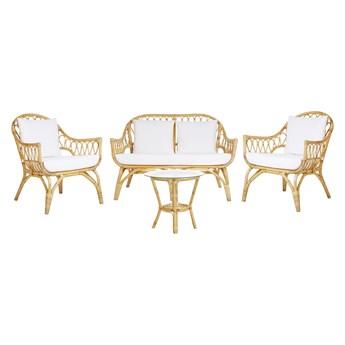Zestaw ogrodowy rattanowy 4-osobowy beżowy rattan sofa 2 fotele stolik kawowy plecionka ze szklanym blatem