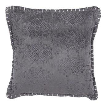 Poduszka dekoracyjna szara wiskoza retro 45 x 45 cm z wypełnieniem ozdobna akcesoria salon sypialnia