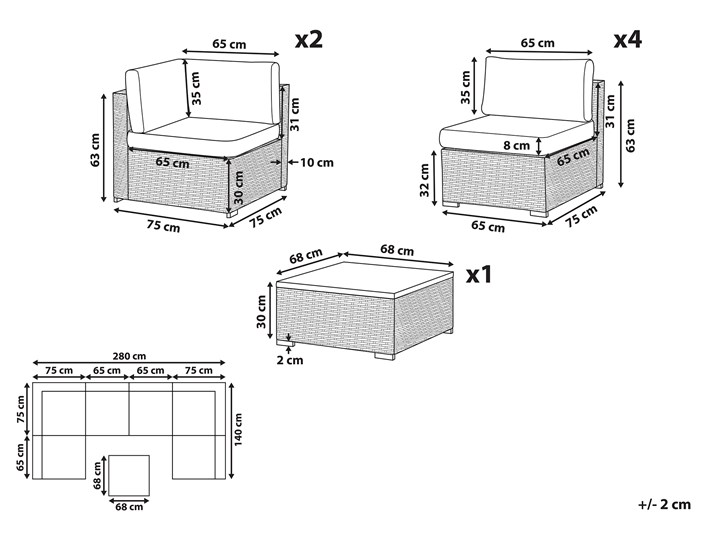 Zestaw mebli ogrodowych brązowy technorattan białe poduszki 6-osobowa sofa narożna stolik kawowy ze szklanym blatem Zestawy wypoczynkowe Zestawy modułowe Aluminium Zestawy kawowe Kolor Biały Zawartość zestawu Narożnik