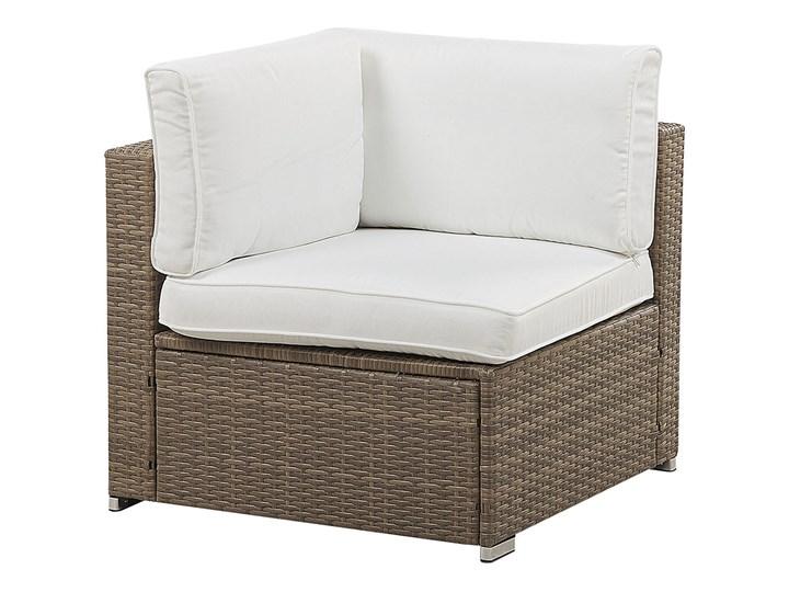 Zestaw mebli ogrodowych brązowy technorattan białe poduszki 6-osobowa sofa narożna stolik kawowy ze szklanym blatem Zestawy kawowe Zestawy modułowe Aluminium Zestawy wypoczynkowe Zawartość zestawu Narożnik