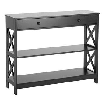 Konsola czarna z szufladą i półkami 100 x 30 cm do salonu sypialni