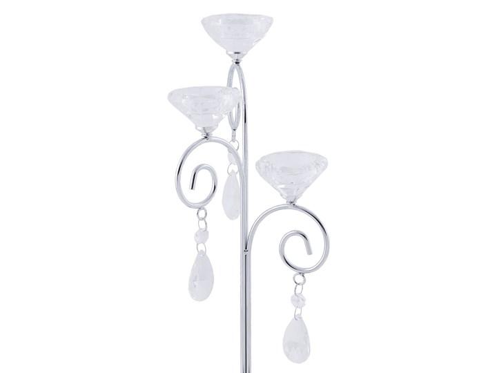 Świecznik trójramienny srebrny metalowy 39 cm z kryształkami Kandelabr Szkło Kategoria Świeczniki i świece